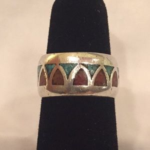 Vintage Sterling Silver Turquoise Carnelian Band 6